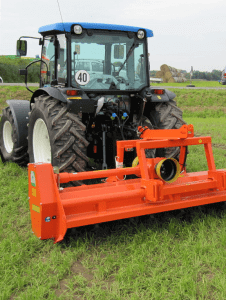 Tractor with mulching trailer