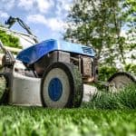 petrol mower on grass