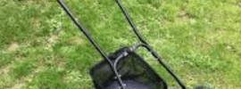 einhell push mower on lawn