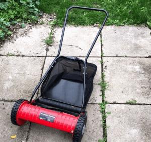 einhell push mower on pavers